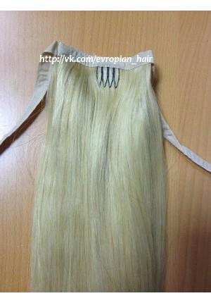Хвост на ленте из натуральных  волос Remy 70см 140 грамм